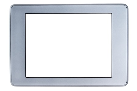 Touch screen tablet with blank white screen, isolated on white background photo