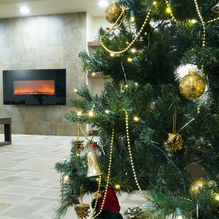 Decorated Christmas tree interior  photo