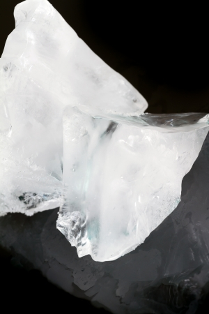 Big pieces of ice on a black background