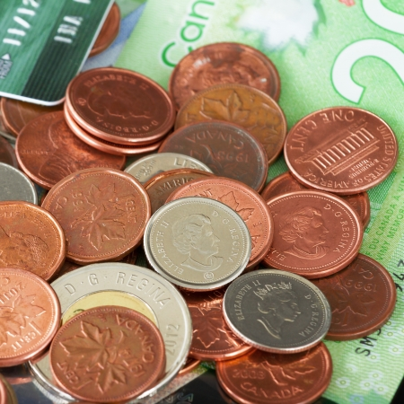 canadian currency: Canadian money on a black background Stock Photo