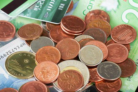 Canadian money on a black background photo