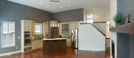Interior design of modern kitchen and Living room in a new house Stock Photo - 17305133