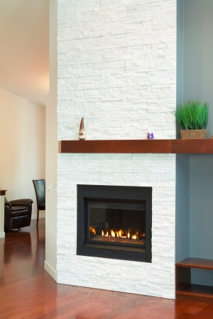 Interior design of modern Living room with fireplace in a new house Stock Photo - 17411273