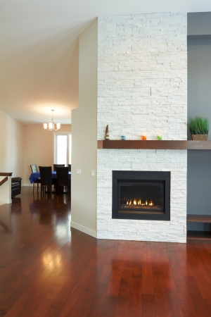 lounge: Interior design of modern Living room with fireplace in a new house