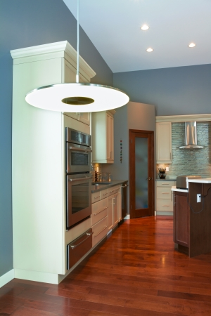 fridge lamp: Interior design of modern kitchen  in a new house