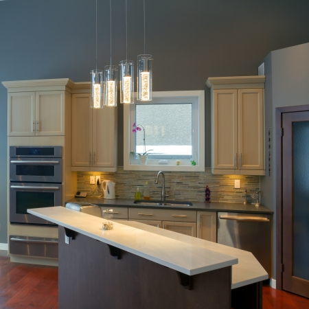 home lighting: Modern kitchen Interior design  in a new house Stock Photo