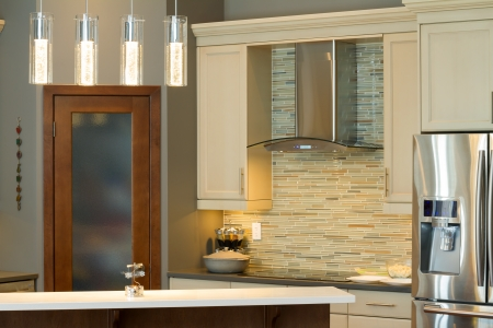 kitchen cabinets: Modern kitchen Interior design  in a new house Stock Photo