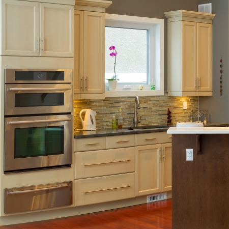 domestic kitchen: Modern kitchen Interior design  in a new house Stock Photo