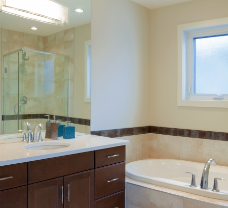 Interior design of a bathroom  in new house photo