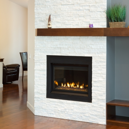 fireplace: Interior design of modern Living room with fireplace in a new house