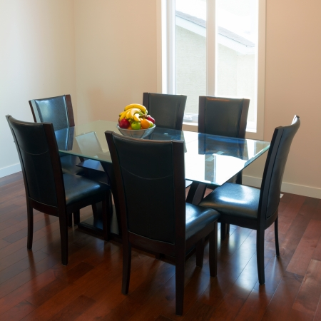 dinning table: Interior design of dining room in a new house Stock Photo