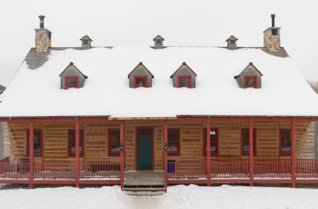 dacha:  Wooden House in winter Editorial