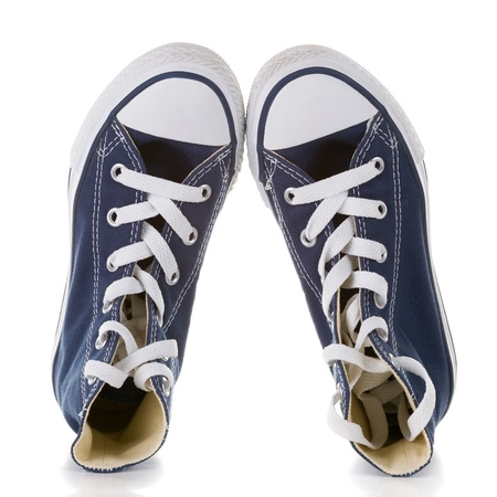 New  blue sneakers on white background Stock Photo - 18654498