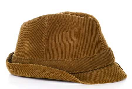 Old brown hat on isolated on white background Stock Photo - 18649497