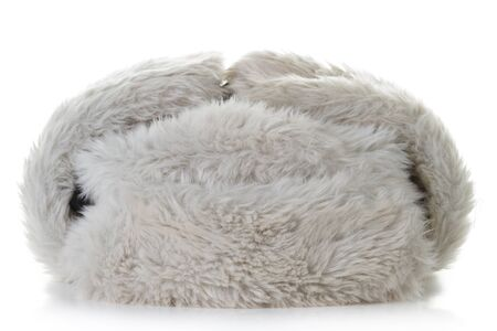 hunters: Fur hat isolated on white background