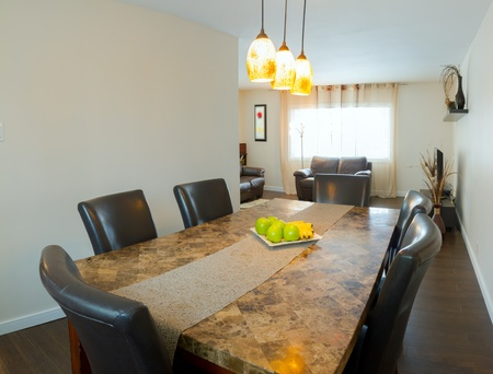 Interior design of dining room in a new house photo