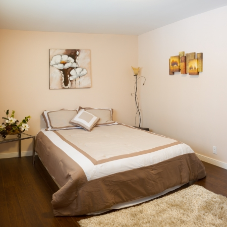 bed sheet: Bedroom with furnishings in a new house