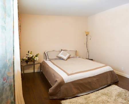 Bedroom with furnishings in a new house  photo