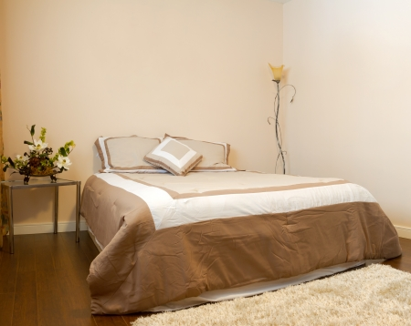 hotel bedroom: Bedroom interior design  in a new house. Stock Photo