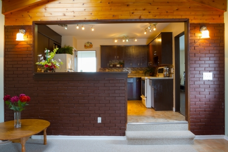 domestic kitchen: Basement and kitchen Interior design
