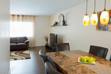 Interior design of dining room in a new house Banco de Imagens
