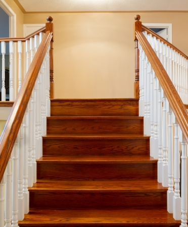 Beautiful foyer looking down hardwood stairs in new house Stock Photo - 22348788