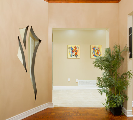 Hallway interior in a new house  with art design on the wall Stock Photo - 22348790