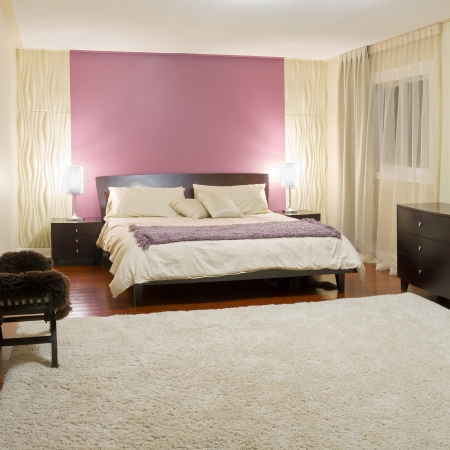 Bedroom modern interior design with furnishings Imagens