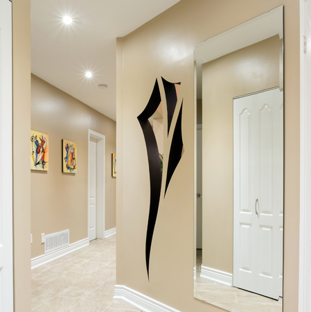 art door: Hallway interior in a new house  with art design on the wall