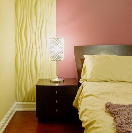 double bed: Bedroom modern interior design  Stock Photo