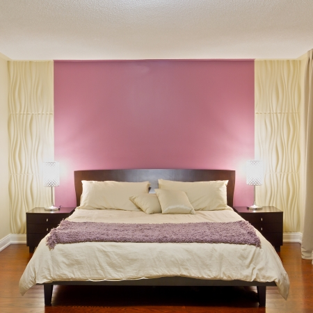 hotel bedroom: Bedroom modern interior design with furnishings Stock Photo