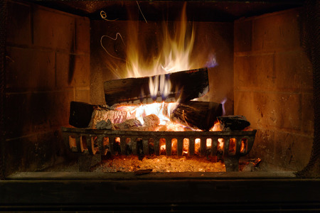 stone fireplace: Fireplace in a new house
