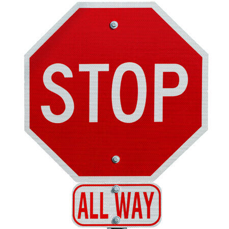 Stop sign all way isolated  photo
