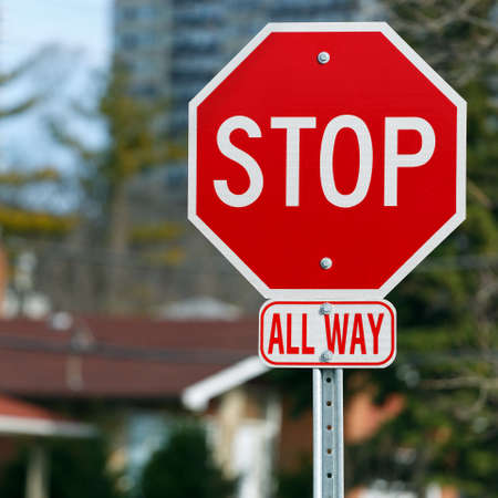 Stop road sign all way photo