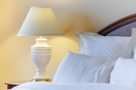 double bed: Bedroom modern interior Stock Photo