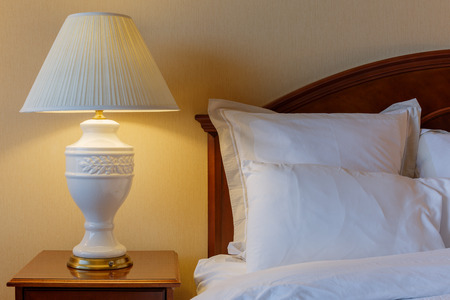 hotel bed: Bedroom modern interior design Stock Photo