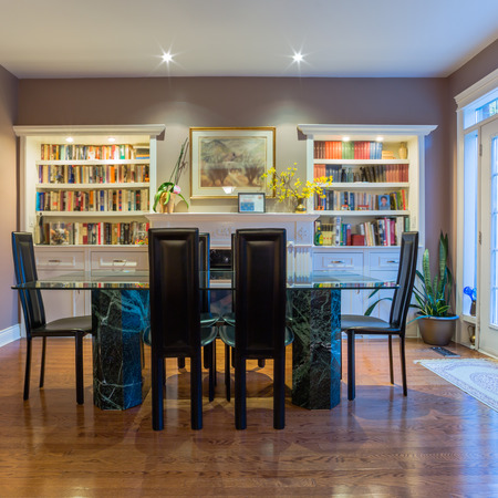 lifestyle dining: Interior design of dining room in a new house Stock Photo
