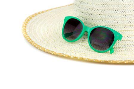 beach wear: Large beach hat and green sun glasses