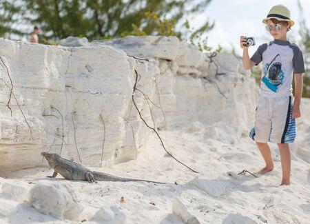 Little boy photographing iguana Stock Photo