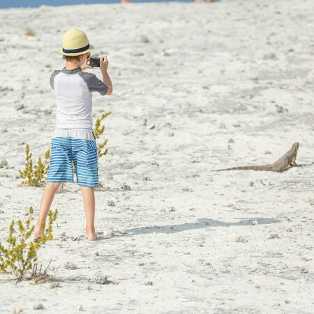 photographing: Little boy photographing iguana Stock Photo