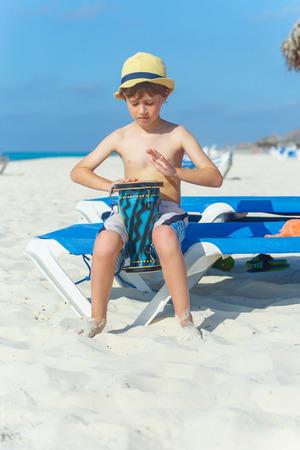 bongo drum: Boy playing on darbuka Stock Photo