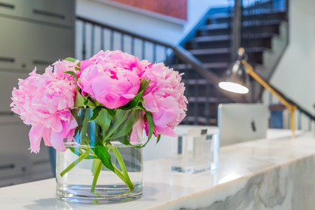 reception: Reception Interior with beautiful pink flowers in vase