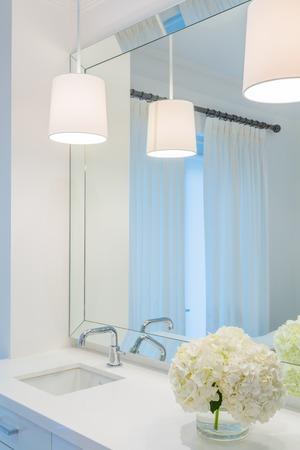 luxury bathroom: Interior design of a luxury bathroom and flower decoration