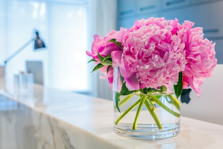 luxury hotel room: Reception Interior with beautiful pink flowers in vase