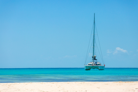 catamaran: Catamaran at the tropical beach of Cuba Stock Photo