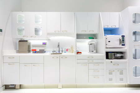 Dental prosthetic laboratory interior of dental clinic