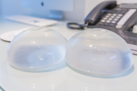 Two silicone breast implant in doctor office Stock Photo