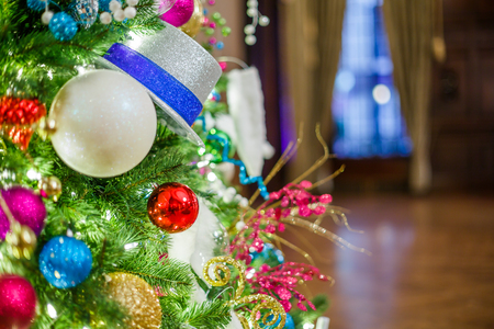 christmas tree with christmas decorations in the hall stock photo 50331636