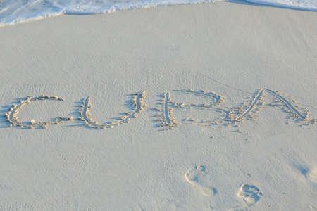 Cuba beach, letters on the sand. Cayo Largo Stok Fotoğraf