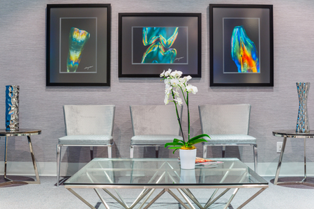 reception: Reception Interior with White Orchid in pot Stock Photo